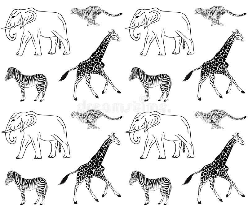 Vector naadloos patroon van Afrikaanse dieren royalty-vrije illustratie