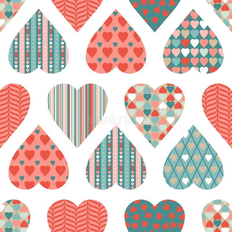 Vector naadloos patroon van de Dag van Valentine binnen stock illustratie