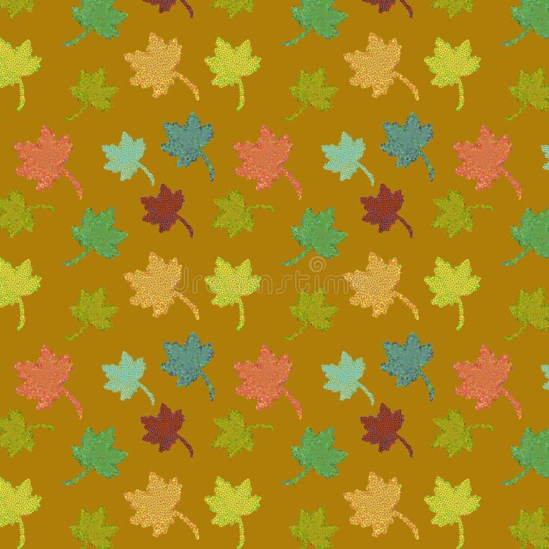 Vector naadloos patroon van de herfstbladeren over gouden achtergrond royalty-vrije illustratie