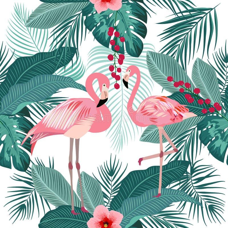 Vector naadloos patroon van flamingo, bladerenmonstera Tropisch l royalty-vrije illustratie