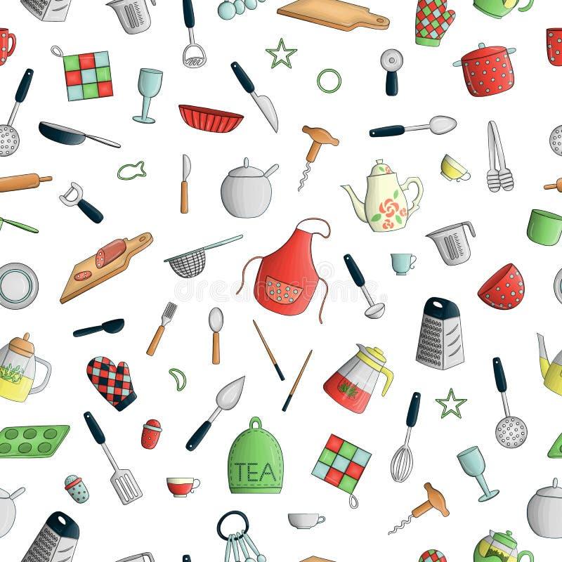 Vector naadloos patroon van gekleurd keukengereedschap Herhaal achtergrond met geïsoleerd kleurrijk bestek, spatel, zwaai, mes,  vector illustratie