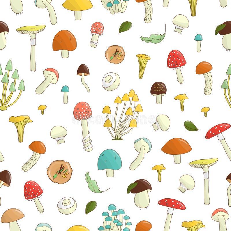 Vector naadloos patroon van gekleurde paddestoelen royalty-vrije illustratie