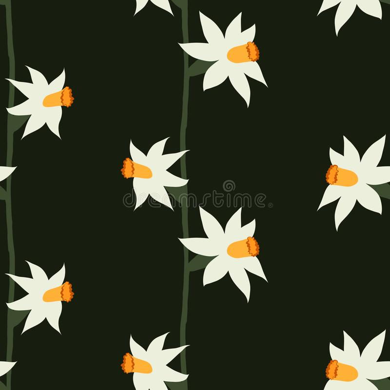Vector naadloos patroon van gele narcissen op een donkergroene achtergrond vector illustratie
