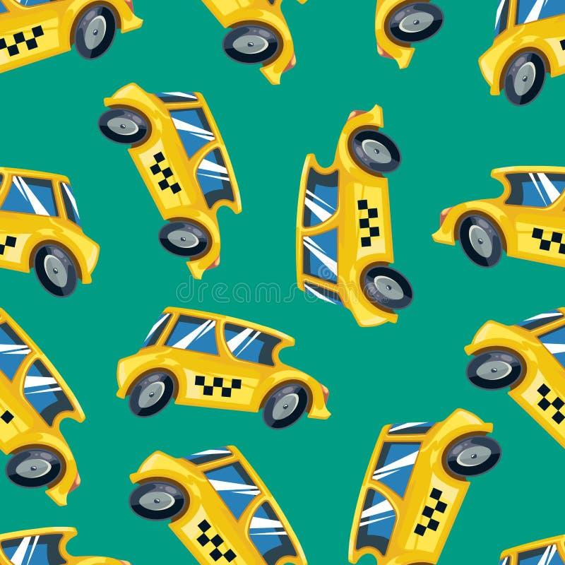 Vector Naadloos patroon van gele taxiauto's stock illustratie