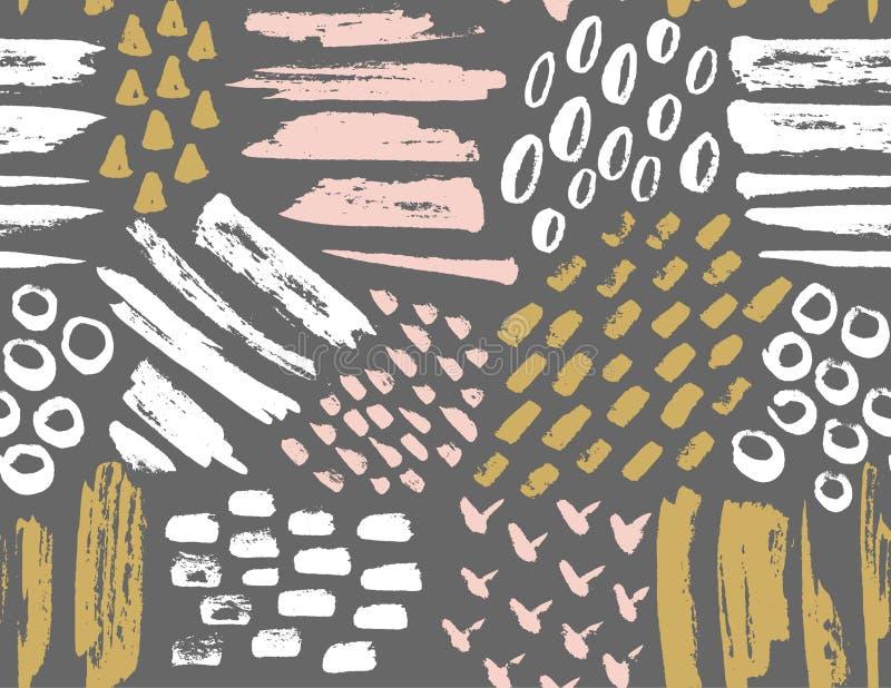 Vector naadloos patroon van geschilderde inkttexturen stock illustratie