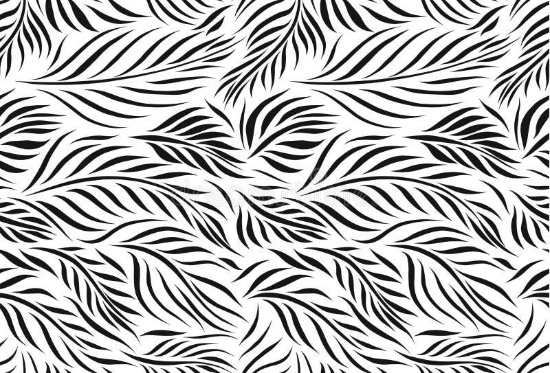 Vector naadloos patroon van grafische bladerenvormen, zwart-wit botanische illustratie, bloemenelementen, getrokken hand stock illustratie