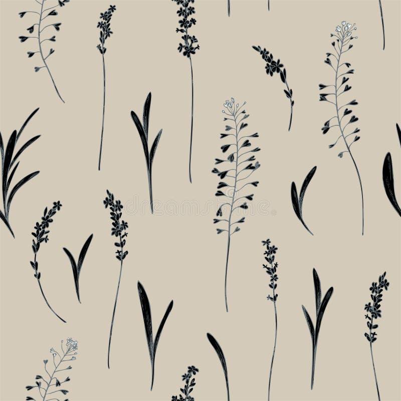 Vector naadloos patroon van heide en herdersbeurs Hand getrokken vectorillustratie vector illustratie