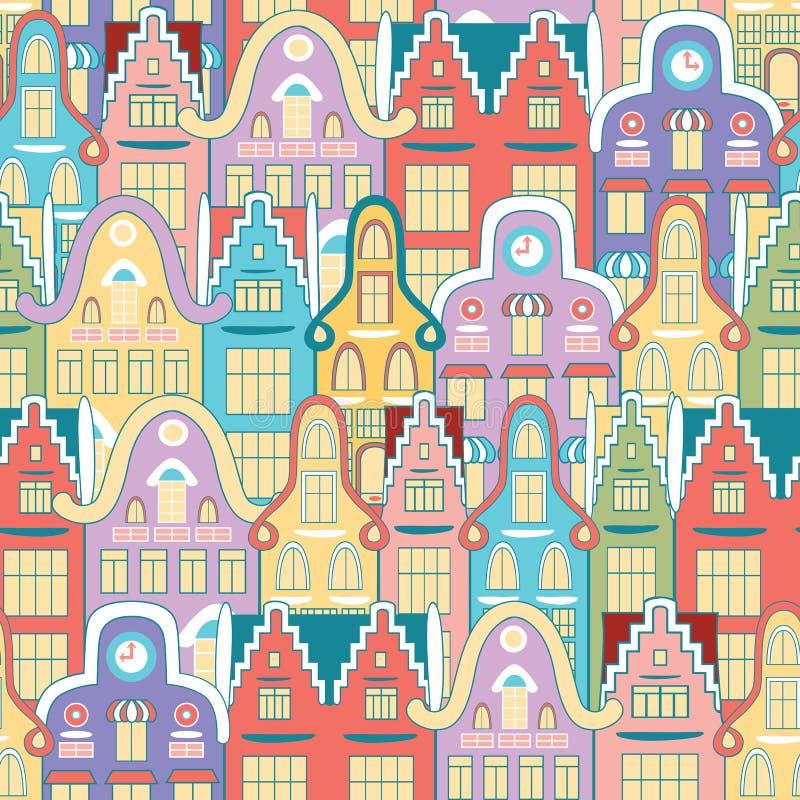 Vector naadloos patroon van huizen vector illustratie