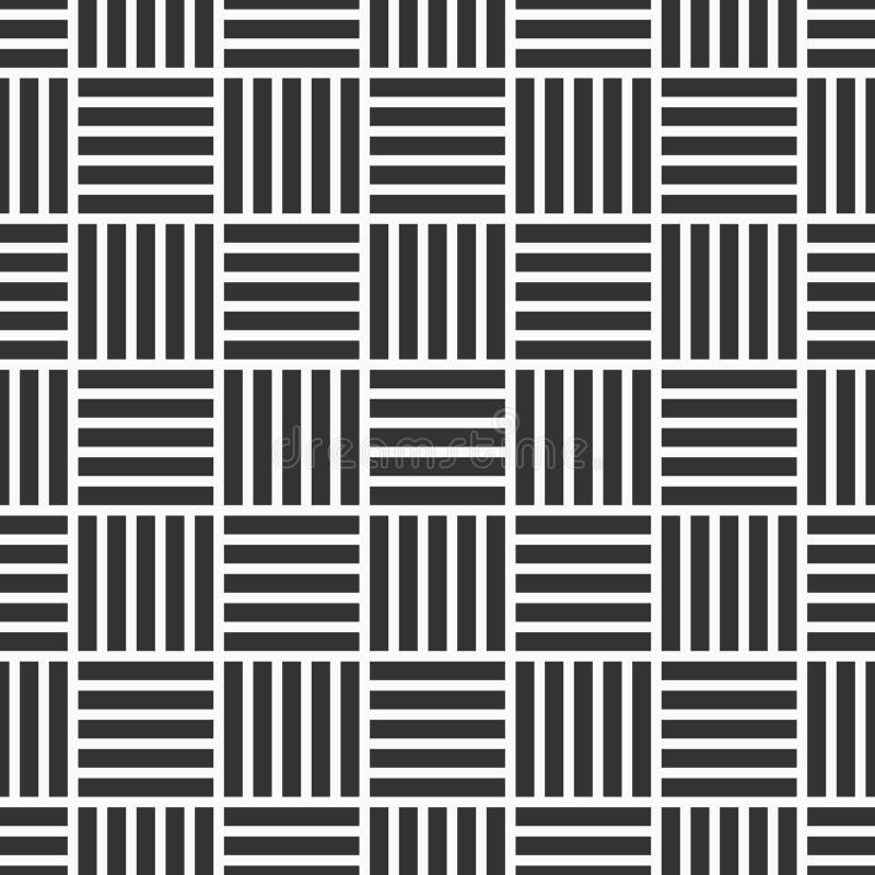 Vector naadloos patroon van ineengestrengelde strepen moderne modieuze textuur Regelmatig herhalend gestreepte vierkanten stock illustratie