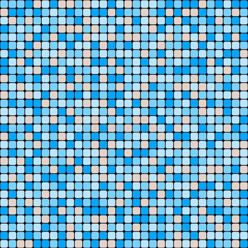 Vector naadloos patroon van kleine vlotte vierkanten Blauw en beige keramische tegelmozaïek vector illustratie