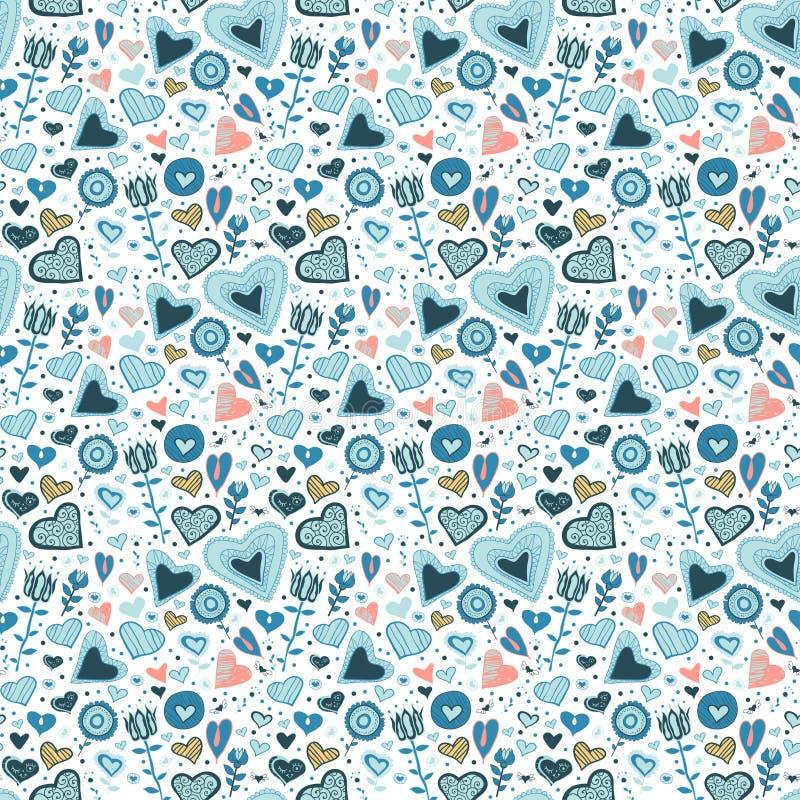 Vector naadloos patroon van kleurrijke bloemen royalty-vrije illustratie