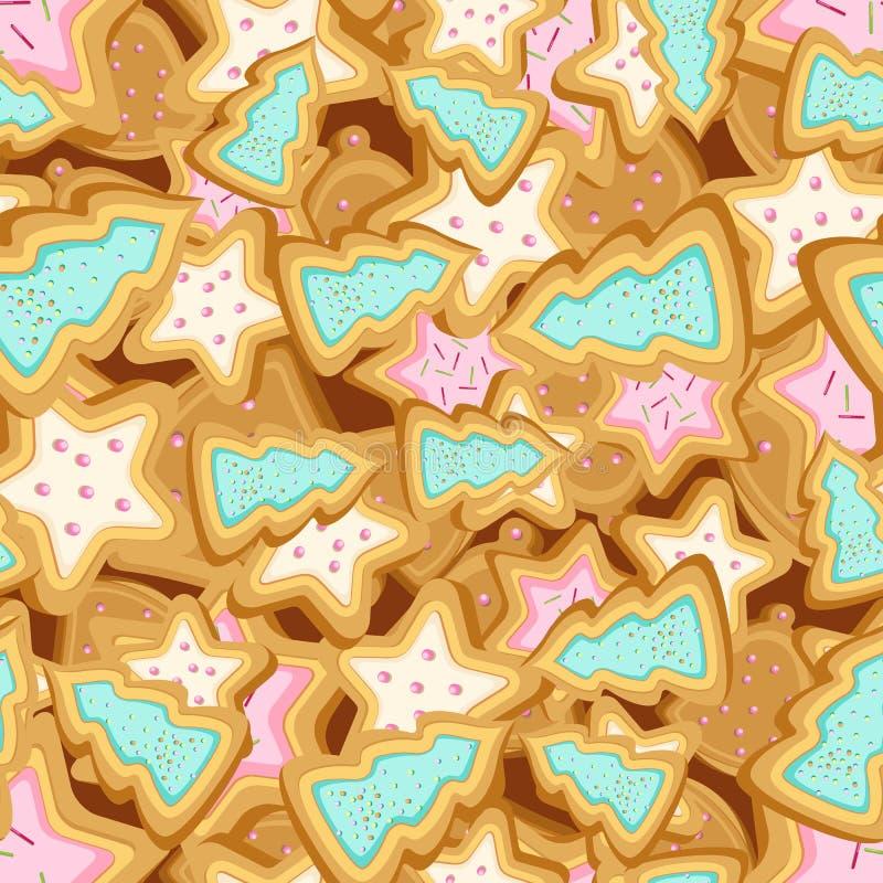 Download Vector Naadloos Patroon Van Koekjes In De Vorm Van Kerstbomen En Sterren Vector Illustratie - Illustratie bestaande uit malplaatje, koekje: 107703370