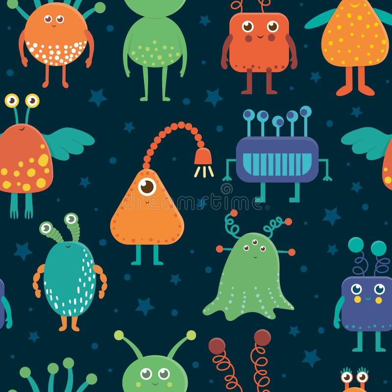 Vector naadloos patroon van leuke vreemdelingen voor kinderen vector illustratie