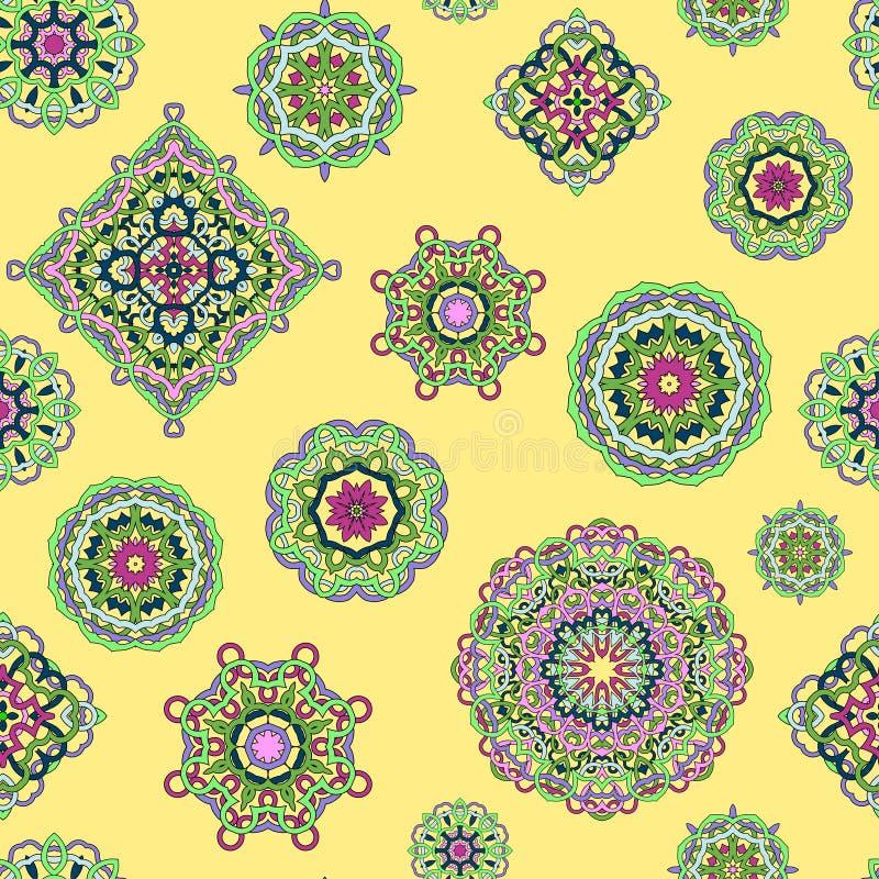 Vector naadloos patroon van mandalas op gele achtergrond vector illustratie