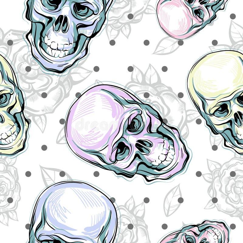Vector naadloos patroon van menselijke schedels en rozen Magisch symbool van het heilige leven en bittere waarheid Mysticussymboo stock fotografie