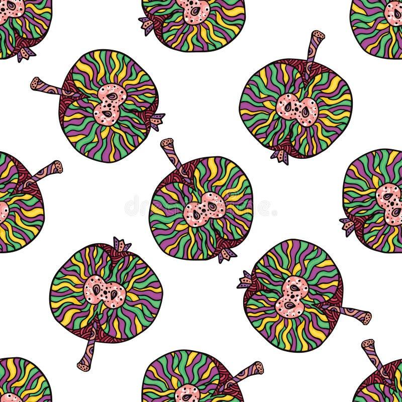 Vector naadloos patroon van moderne geometrische vruchten appelen Exotische de zomerachtergrond Gezond vegetarisch voedsel stock illustratie
