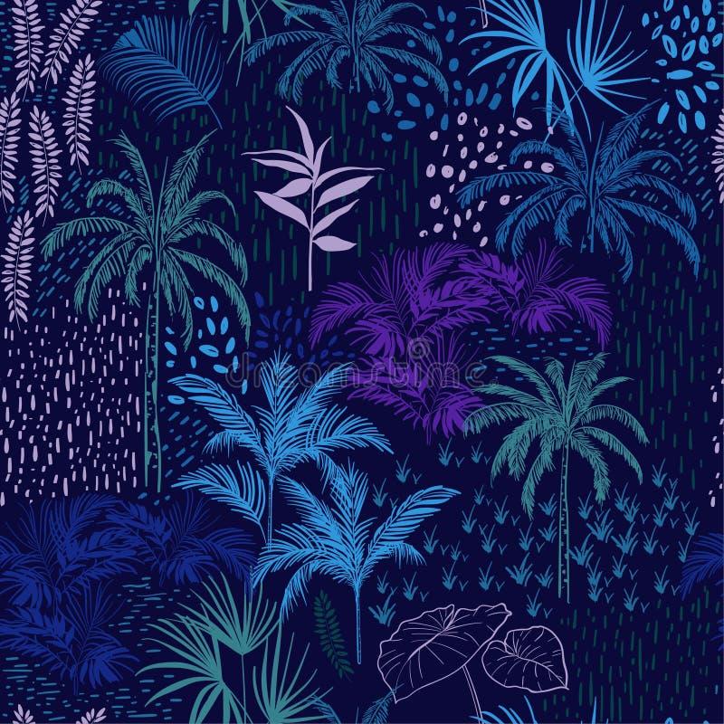 Vector naadloos patroon van monotoon blauw bos voor de zomertropi stock illustratie