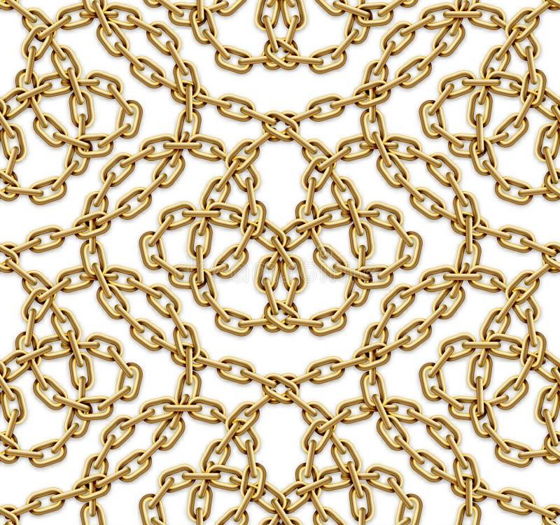 Vector naadloos patroon van verweven gouden kettingen stock illustratie