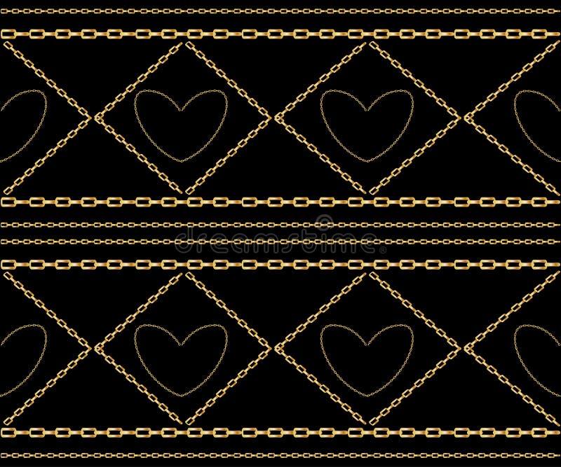 Vector naadloos patroon van verweven gouden kettingen Realistische ge?soleerde illustratie vector illustratie