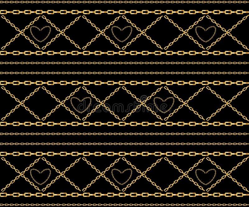 Vector naadloos patroon van verweven gouden kettingen Realistische ge?soleerde illustratie stock illustratie