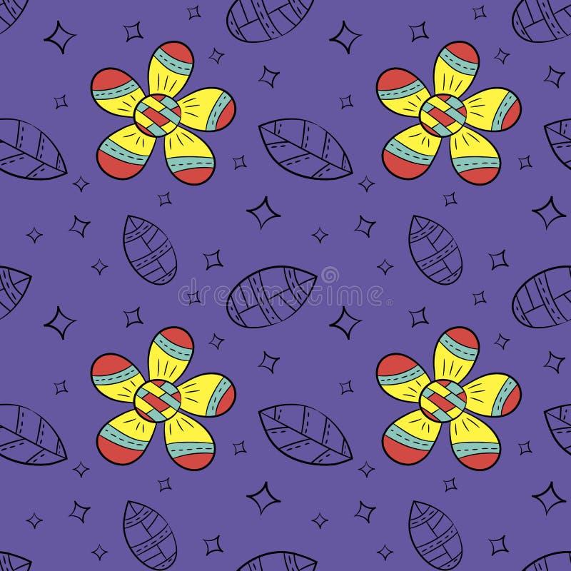 Vector naadloos patroon van vlak bloemen en blad in Skandinavische getrokken stijlhand Gebruikt voor banners, presentaties, achte vector illustratie