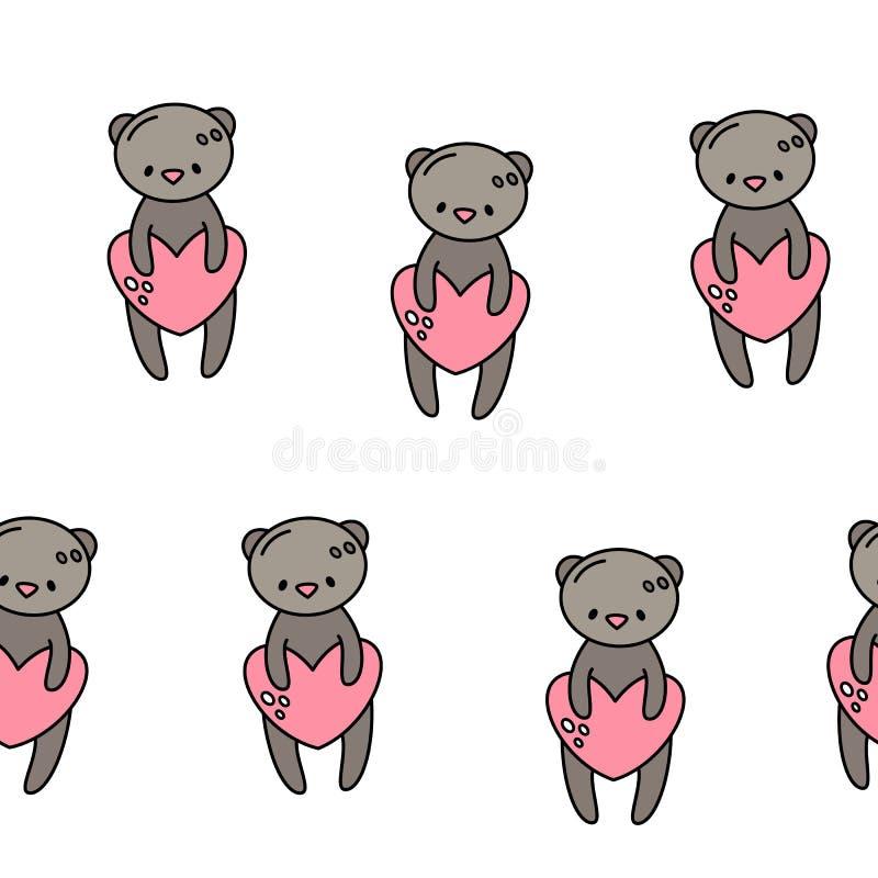 Vector Naadloos Patroon voor de Dag van Valentine ` s Leuk draag met een hart De stijl van de krabbel stock illustratie