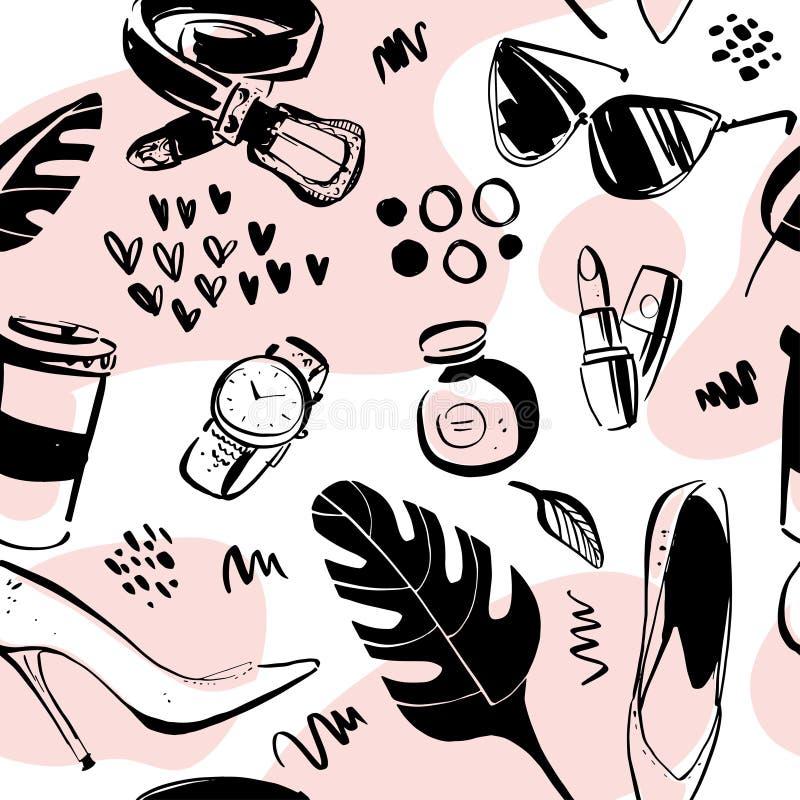 Vector naadloos patroon voor manier en het winkelen thema met vrouwentoebehoren, geïsoleerde elementen - schoen, parfum, riem, ho royalty-vrije illustratie