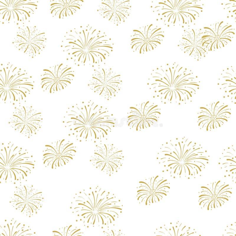 Vector Naadloos Patroon, Vuurwerkachtergrond, de Gouden Explosie van de Brandcracker, Feestelijke Illustratie stock illustratie