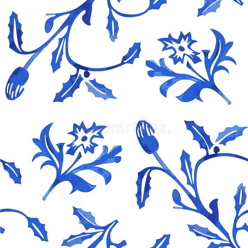 Vector Naadloos Porseleinpatroon op Witte Achtergrond stock afbeeldingen