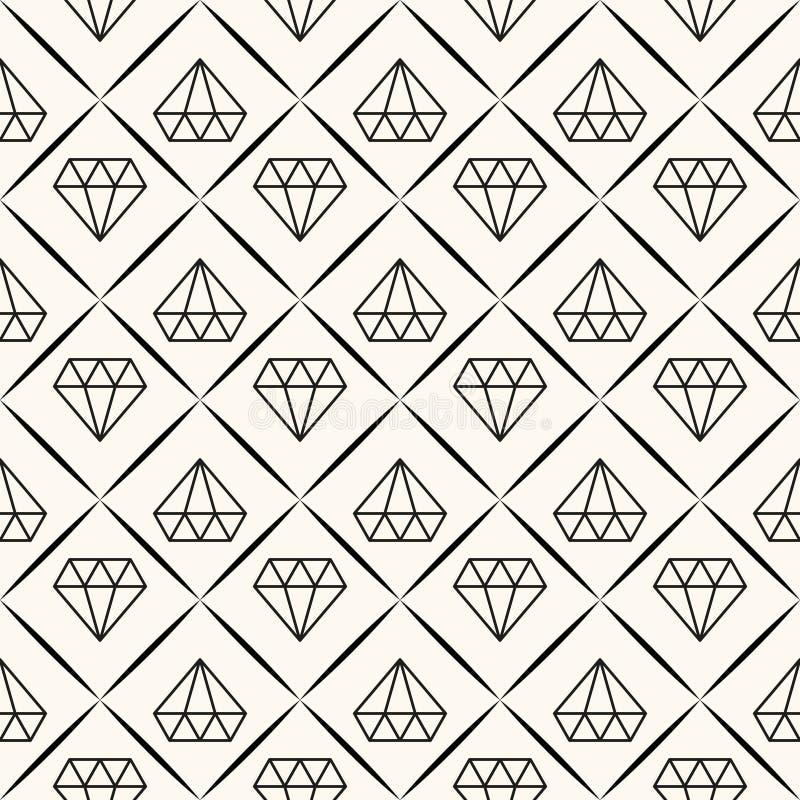 Vector naadloos retro patroon, met diamanten. royalty-vrije illustratie