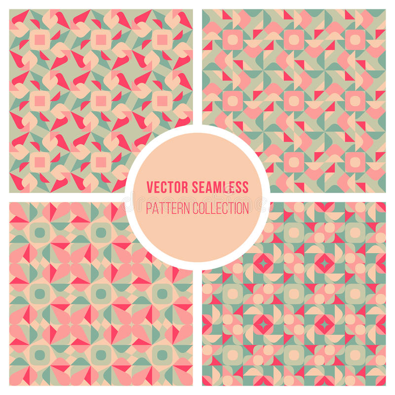 Vector Naadloos Roze Teal Geometric Retro Square Pattern stock illustratie
