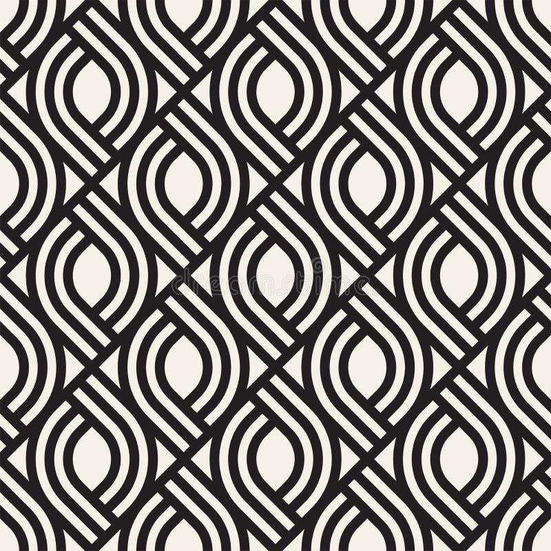 Vector naadloos subtiel roosterpatroon Moderne modieuze textuur met zwart-wit latwerk Het herhalen van geometrisch net vector illustratie