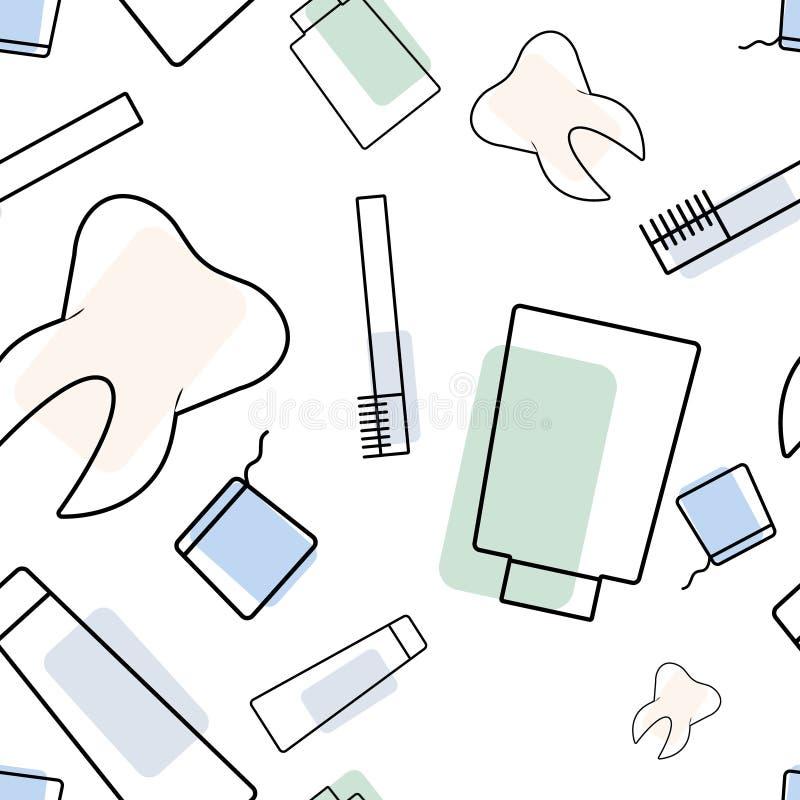 Vector naadloos tandartspatroon royalty-vrije illustratie