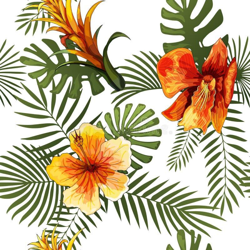 Vector naadloos tropisch de drukontwerp van de patroon modern helder zomer royalty-vrije illustratie