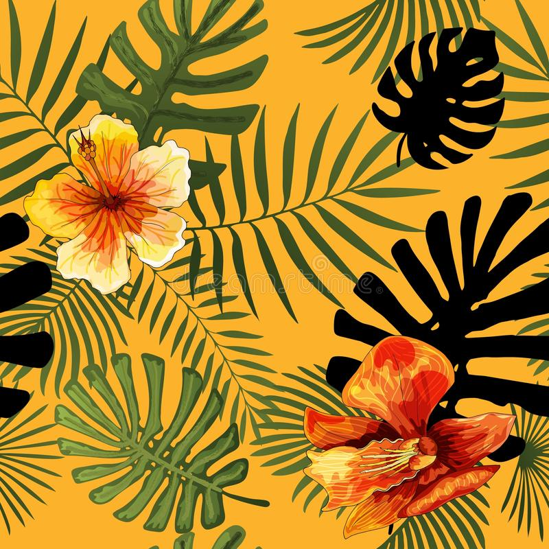 Vector naadloos tropisch de drukontwerp van de patroon modern helder zomer stock illustratie