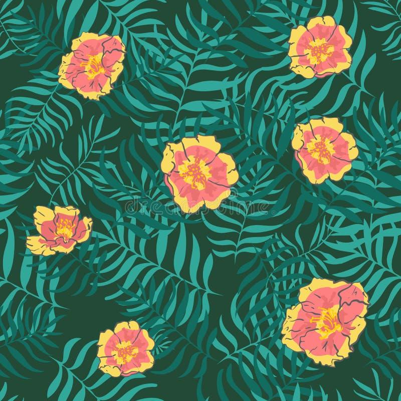 Vector naadloos tropisch patroon, levendig tropisch gebladerte, met bloemen, blad van hibiscus in bloei het moderne heldere ontwe vector illustratie