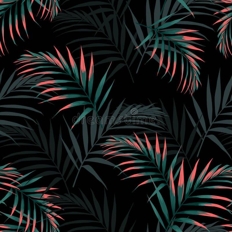 Vector naadloos tropisch patroon, levendig tropisch gebladerte, met palmbladen stock illustratie