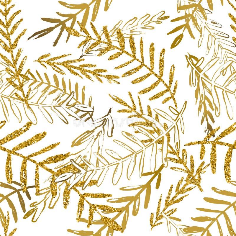 Vector naadloos tropisch patroon met bladgouden Gouden en witte palmbladachtergrond In de zomerontwerp royalty-vrije illustratie