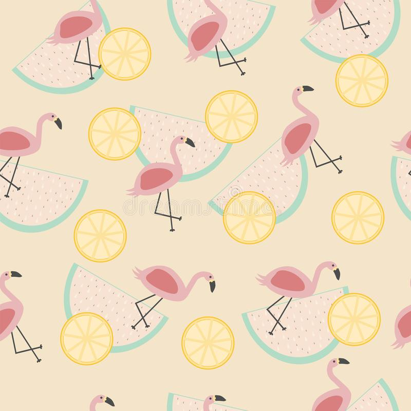 Vector naadloos tropisch patroon met dierlijke roze flamingo royalty-vrije illustratie