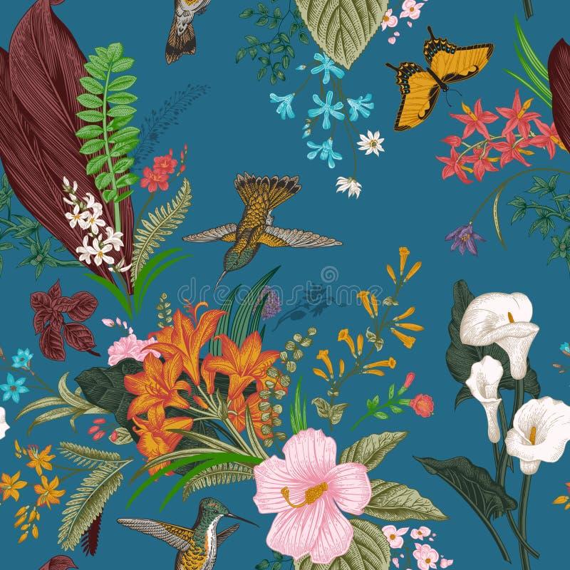 Vector Naadloos uitstekend bloemenpatroon Exotische bloemen en vogels stock illustratie