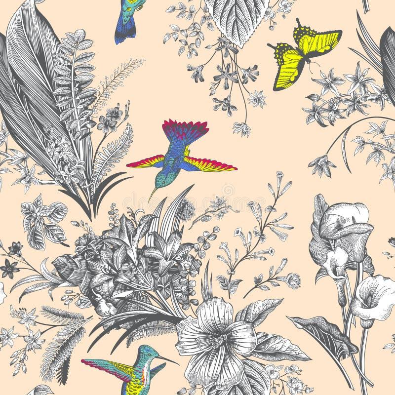 Vector Naadloos uitstekend bloemenpatroon Exotische bloemen en vogels vector illustratie