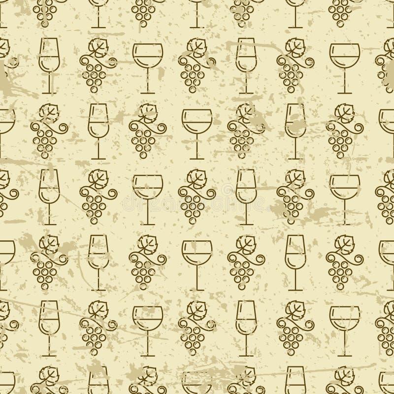 Vector naadloos uitstekend patroon met de druif en de wijn van de overzichtswijnstok stock illustratie