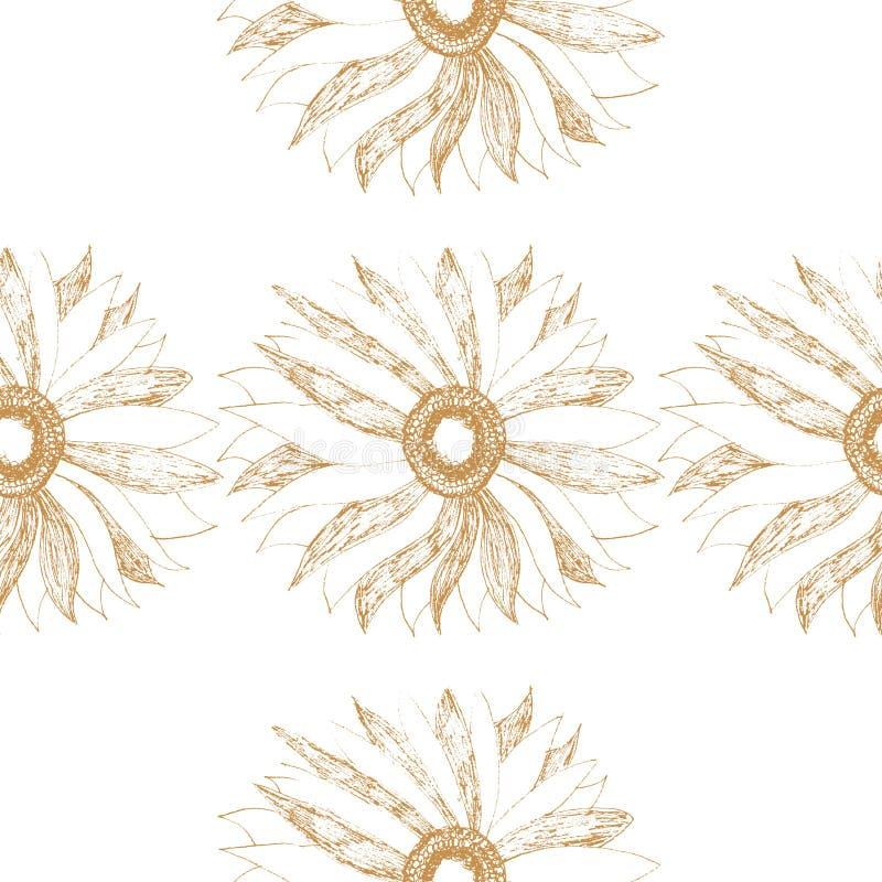 Vector naadloos uitstekend patroon met leuke bloem stock illustratie
