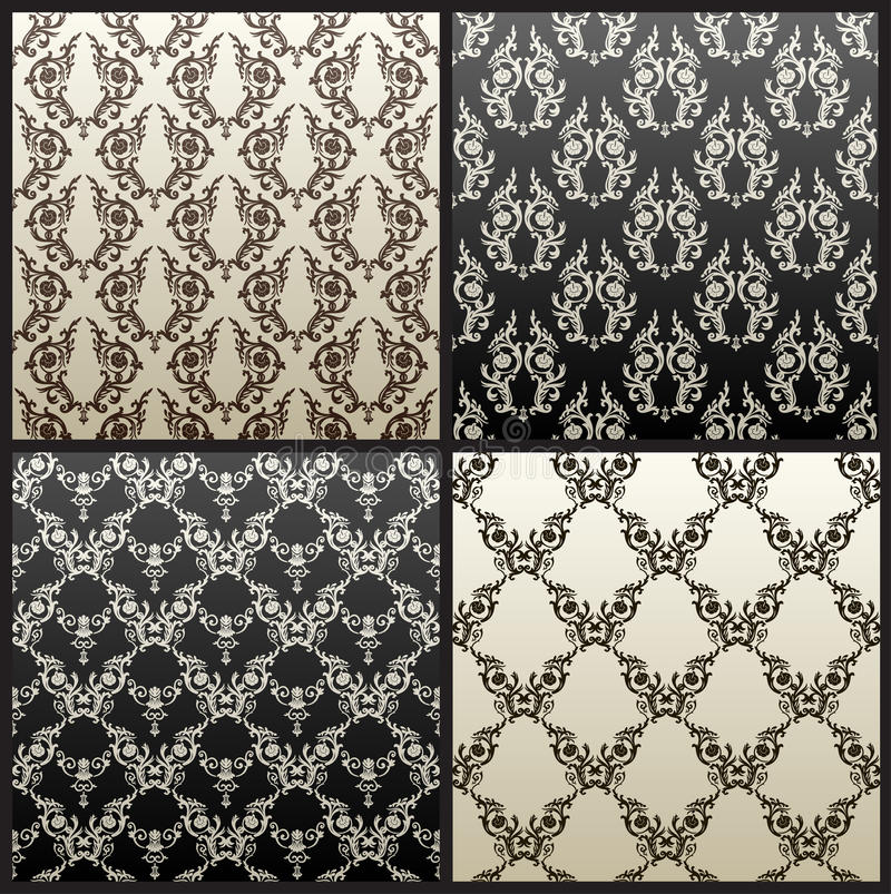 Vector naadloos uitstekend zwart behang als achtergrond royalty-vrije illustratie