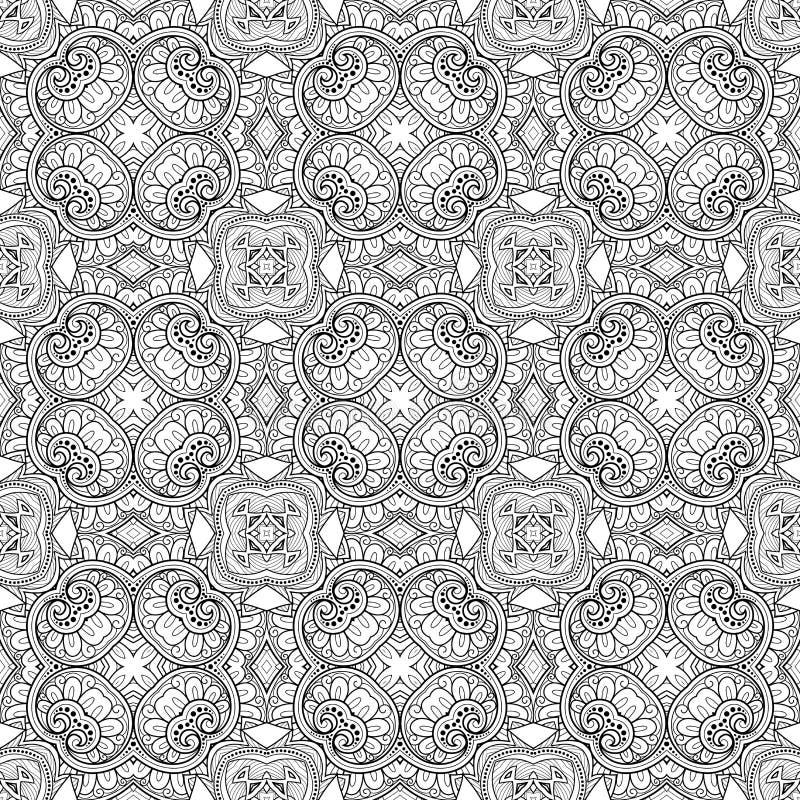 Vector Naadloos Uitstekend Zwart-wit Kantpatroon vector illustratie