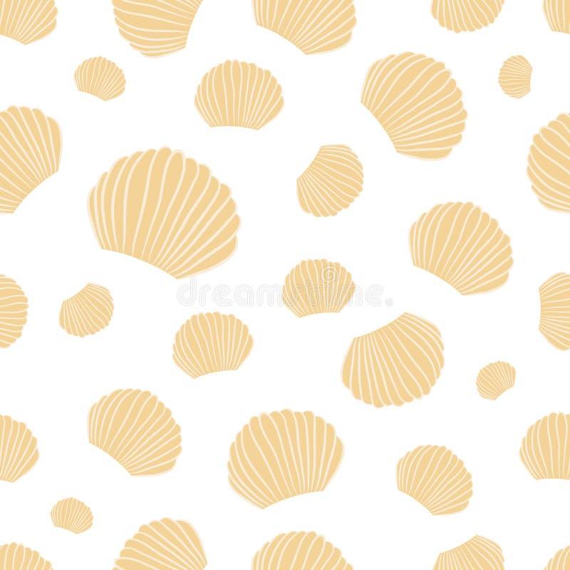 Vector Naadloos van Zeeschelpen op Witte Achtergrond vector illustratie