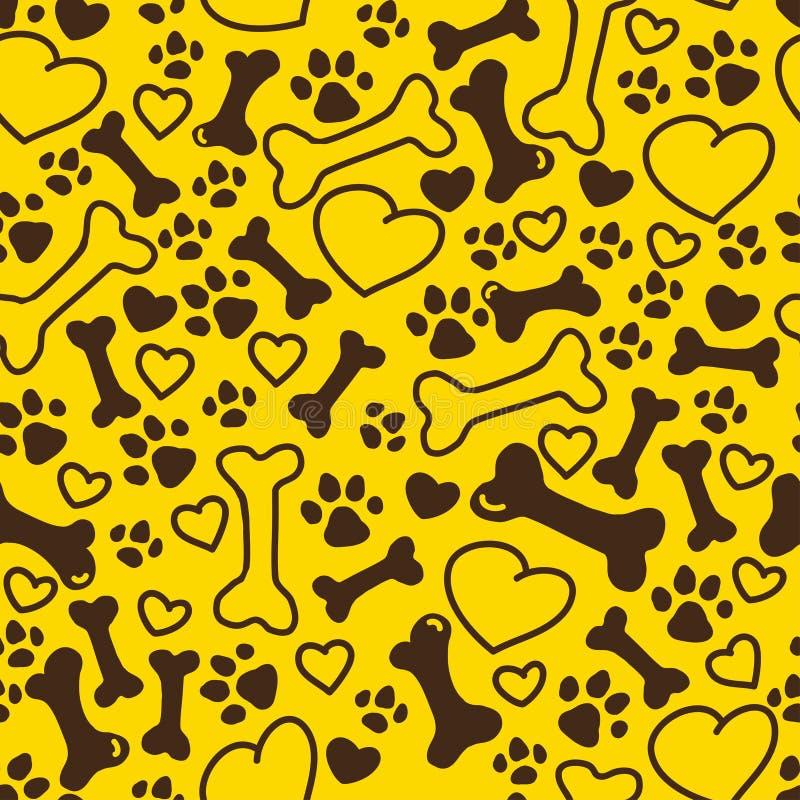 Vector naadloos vlak hand getrokken hondpatroon met beenderen, harten, de verschillende die grootte van het pootspoor op gele ach vector illustratie