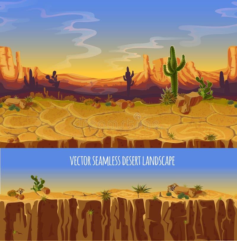 Vector naadloos woestijnlandschap De banner van het spelbeeldverhaal royalty-vrije illustratie