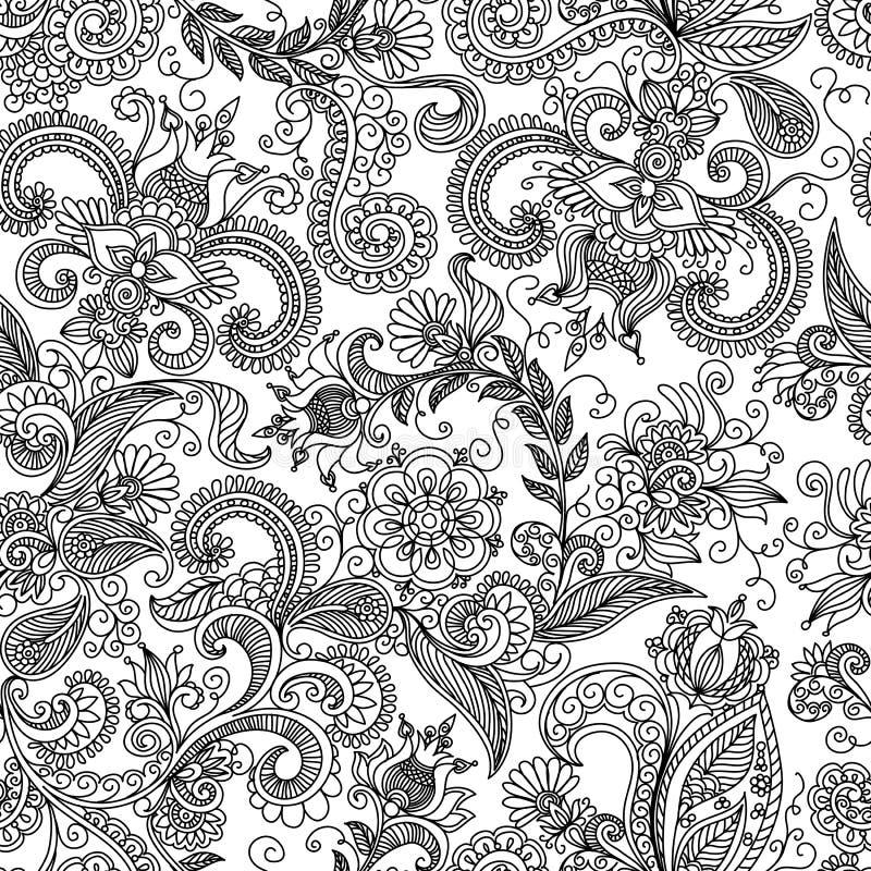Vector naadloos zwart en rood bloemenpatroon vector illustratie