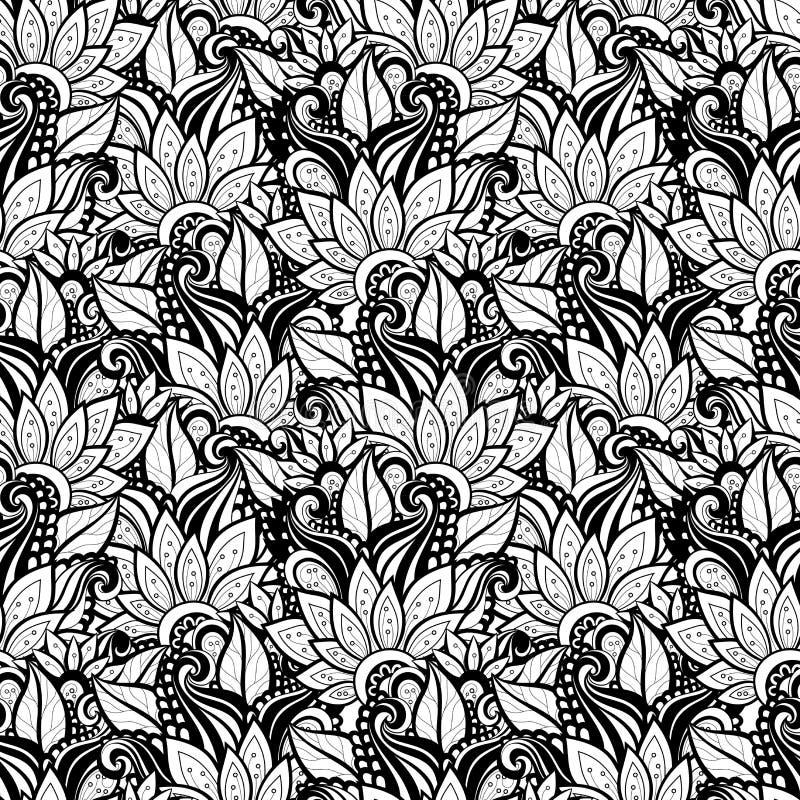 Vector Naadloos Zwart-wit Bloemenpatroon royalty-vrije illustratie